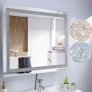 Chende 32'' x 24'' Crystal Bathroom Mirror with Bright Lights, Dimmable Large Wall Mounted Lighted Vanity Mirror for Bathroom Bedroom, Plug in or Hardwired Smart Mirror, 3 Light Colors Setting
