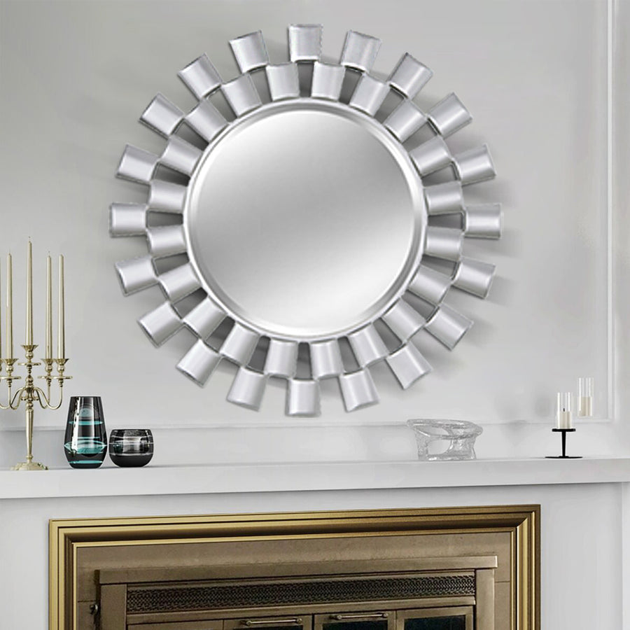 Chende Large Mirror Wall Decor with Wooden Frame, 32'' Round Decorative Mirror for Wall, Modern Silver Accent Mirror with Beveled Edge for Living Room