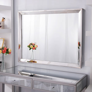 "Chende Rectangle Wall Bathroom Mirror with 2"" Big Beveled Edge, 36""X28"" Large Vanity Mirror with Stainless Steel Frame for Makeup, Horizontally or Vertically Design"