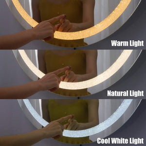 Chende 28 Inch Crystal LED Bathroom Vanity Mirror, Round Smart Makeup Mirror with Lights for Bathroom Vanity with a Plug, Unique Shining Starlight Effect, 3 Different Light Temperatures Setting