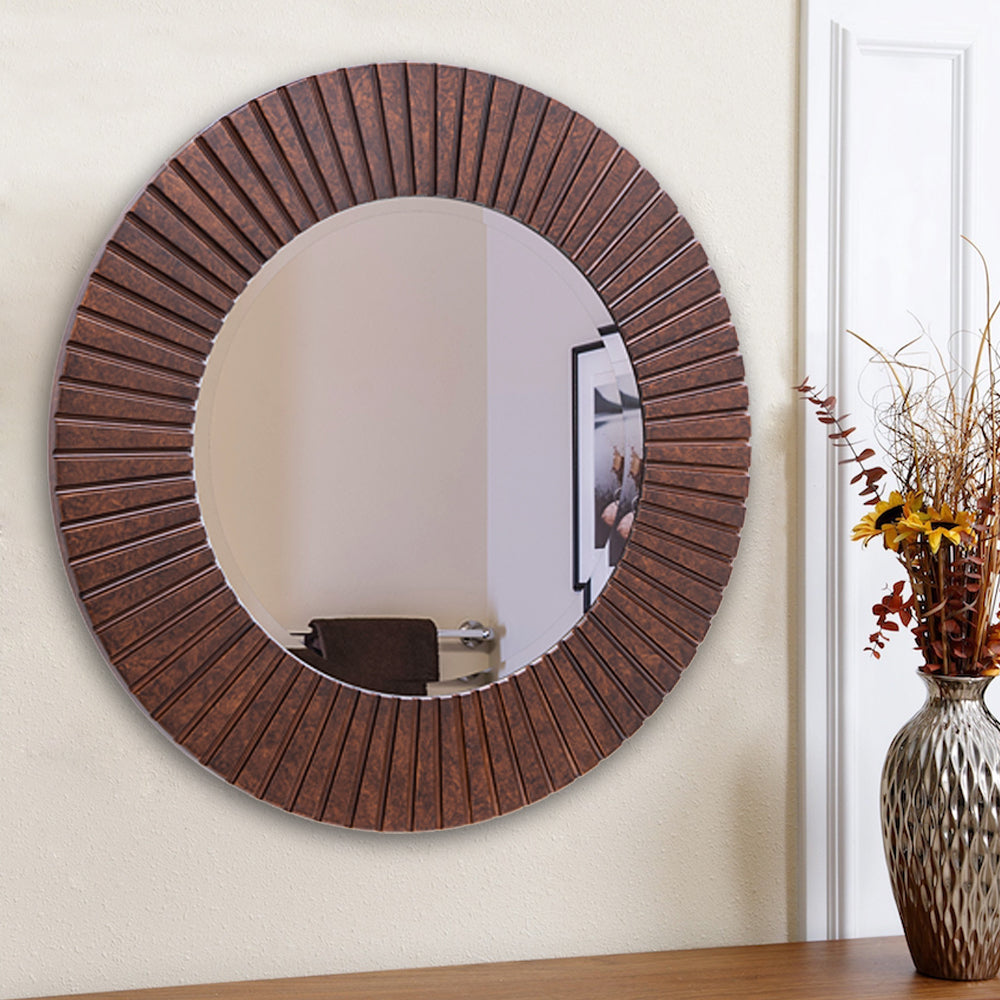 Chende 30'' Farmhouse Decorative Mirror for Wall, Large Round Wood Mirror with Bronze Frame, Rustic Mirror Wall Decor for Living Room, Bathroom, Bedroom, and Entryway