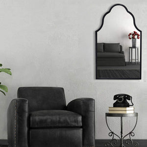 "Chende Arch Wall Mirror for Decor, Antique Black Decorative Mirror with Wooden Frame, Large Modern Accent Mirror for Foyer, Bathroom, Bedroom, 32"" H x 20"" W"