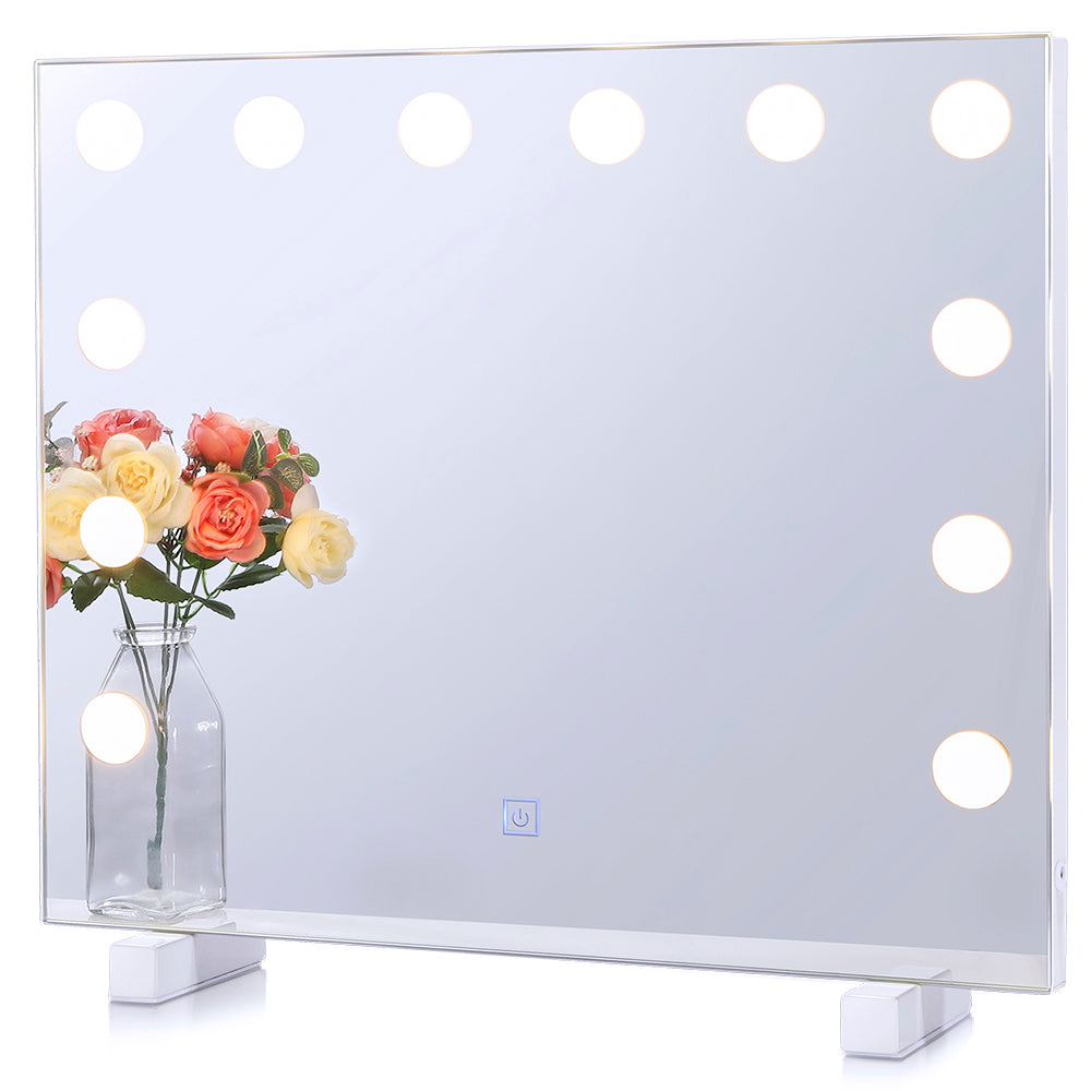 Hollywood Vanity Makeup Mirror Lighted Bathroom Mirror with 14 LED Dimmable Bulbs Tabletop Wall-mounted