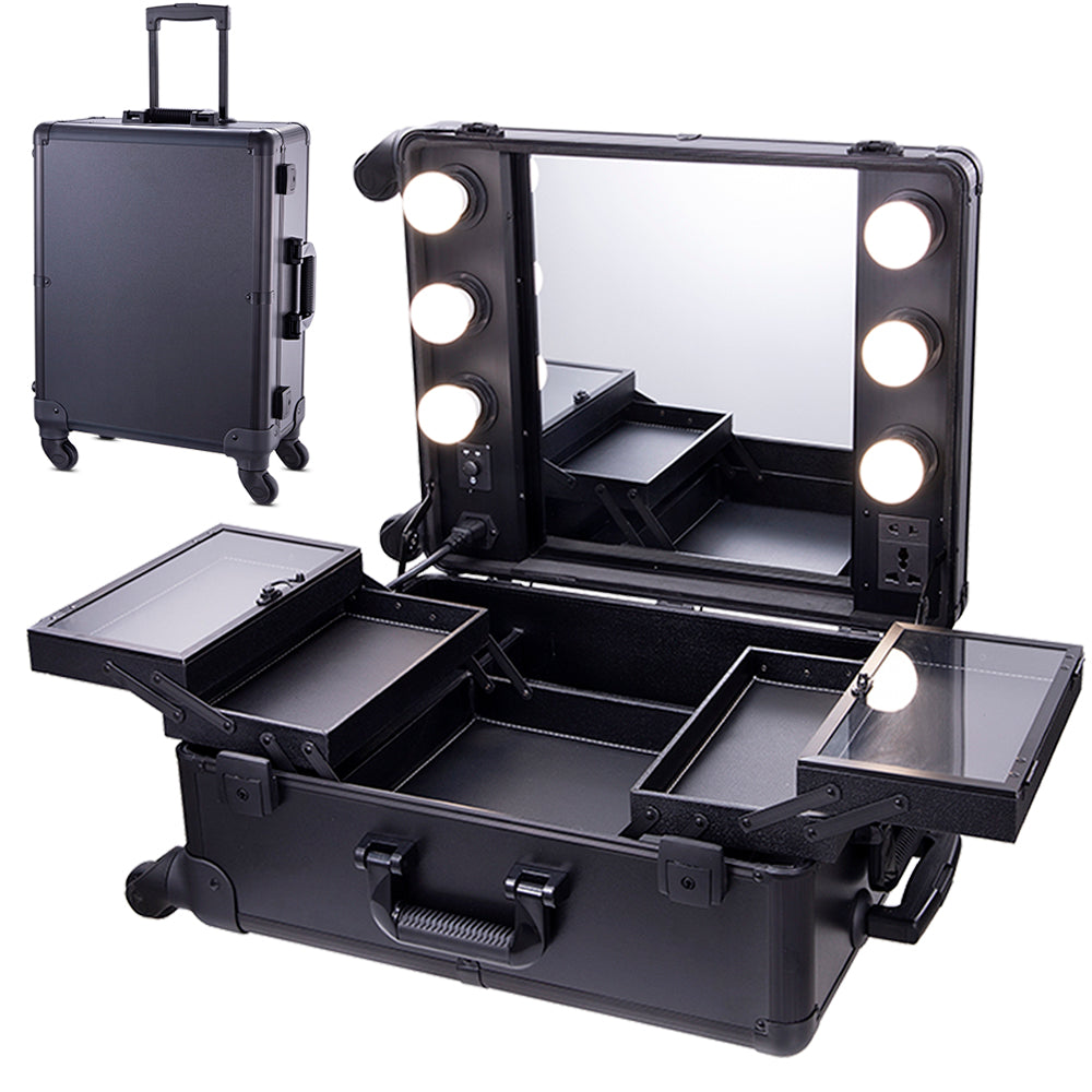 Chende Black Pro Studio Artist Train Rolling Makeup Case with Light Wheeled Organizer, Hollywood Vanity Set with Mirror Lights for Dressing Room