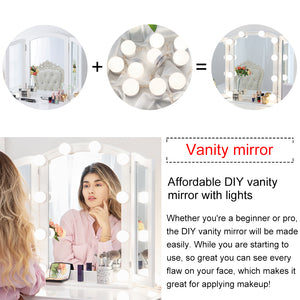Chende Large Glossy White Tri-fold Vanity Mirror with Base, Three Ways Makeup Mirror for Vanity Table Set, Wood Table Countertop Mirror or Wall Mounted Mirror