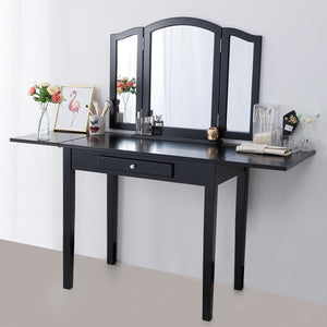 Chende Vanity Dressing Table for Makeup Room, Drop Leaf Vanity Dresser Writing Desk for Home Black White