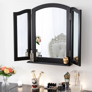 Chende Large Glossy Black Tri-fold Vanity Mirror with Base, Three Ways Makeup Mirror for Vanity Table Set, Wood Table Countertop Mirror or Wall Mounted Mirror