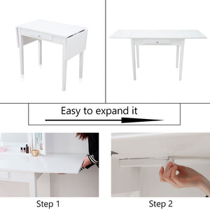 Makeup Vanity Desk with Drawer and Drop Leaf, Chende White Wooden Writing Desk for Bedroom Dressing Room