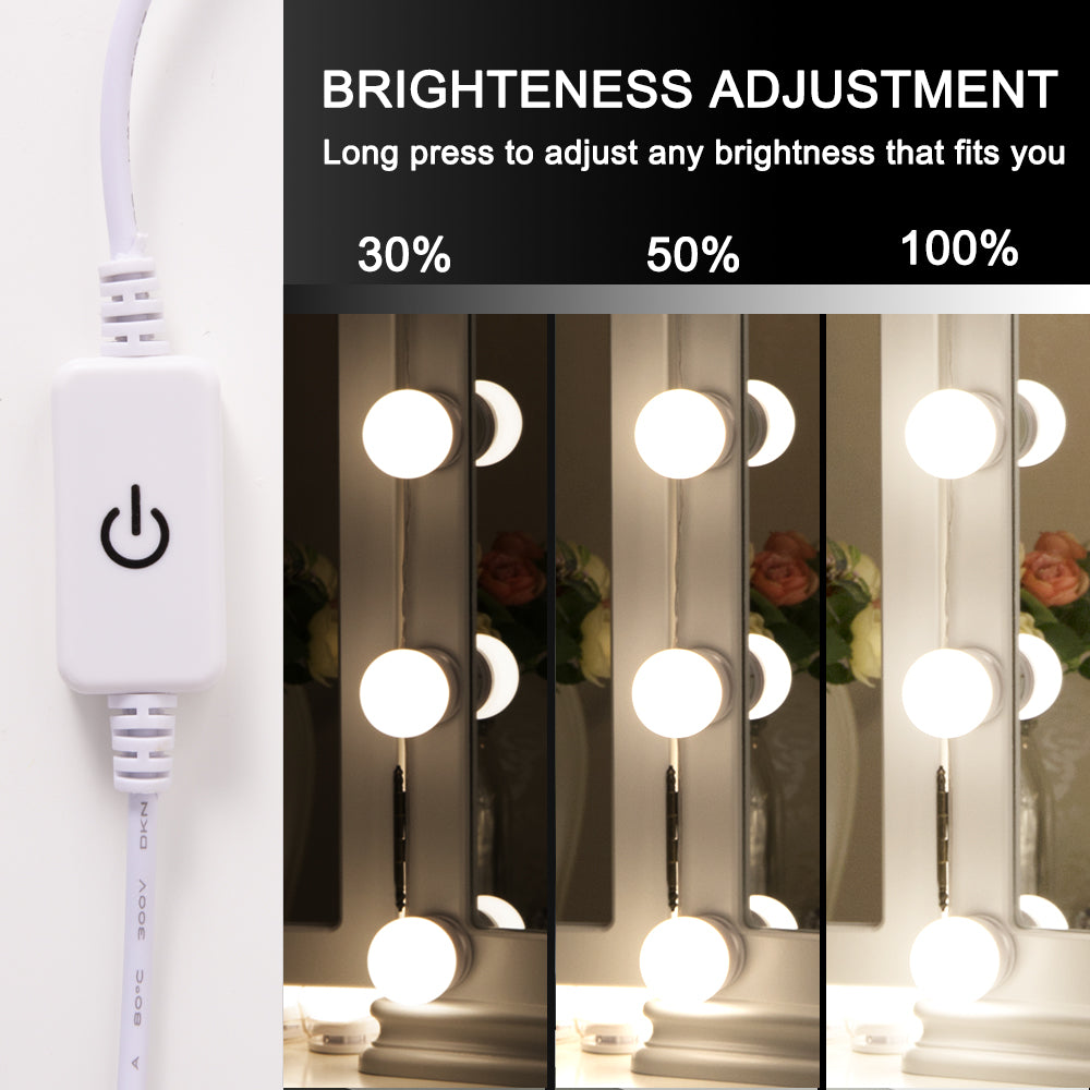 Chende Hollywood Style LED Vanity Mirror Lights Kit with Dimmer, Wall on