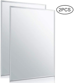 "Chende 20"" x 28"" Rectangle Wall Mirror with Beveled Edge, Glass Frameless Vanity Mirror for Bathroom, Entryways, Washrooms, Living Rooms"
