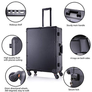 Chende Pro Studio Artist Train Rolling Makeup Case with Light, Large Black Wheel Vanity Organizer
