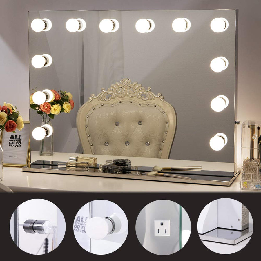 Chende Hollywood Vanity Mirror with Lights, Frameless Lighted Makeup Mirror with LED Light Bulbs