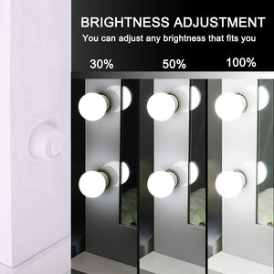 Vanity mirror with dimmable LED light bulbs