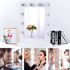 Chende Tabletop Makeup Mirror with Lights, Hollywood Vanity Wall Mounted Mirror Set for Dressing