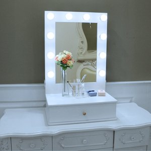 Chende Hollywood Makeup Vanity Mirror with Light Tabletops Lighted Mirror with Dimmer, LED Illuminated Cosmetic Mirror with LED Dimmable Bulbs, Tabletop Lighting Mirror