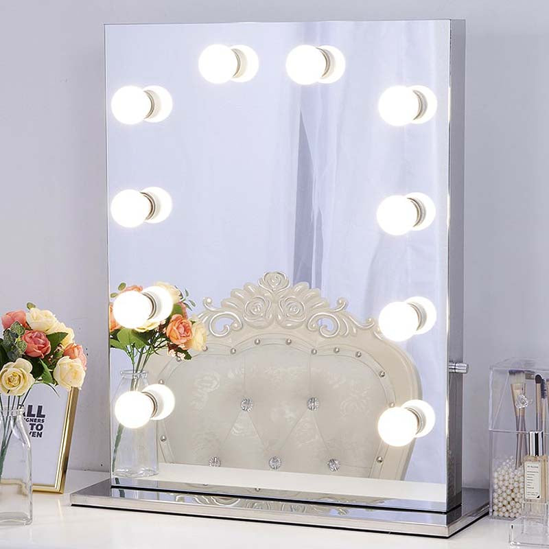 Chende Frameless Hollywood Makeup Vanity Mirror, LED Illuminated Cosmetic Mirror with Lights Bulbs