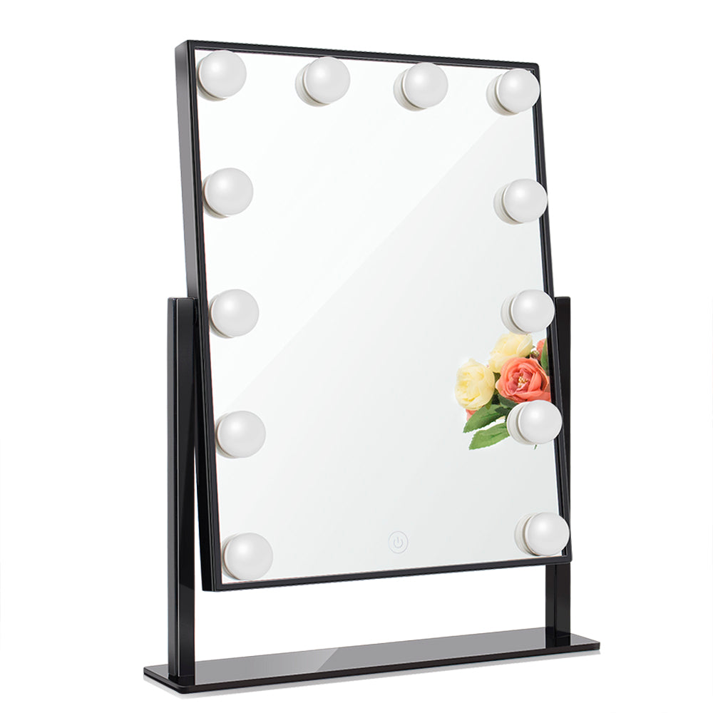 Tabletop Lighted Vanity Mirror with Dimmable Led Bulbs, Chende 3-color  Light Conversion