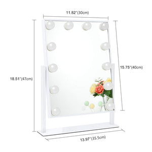 Chende Hollywood Style Lighted Vanity Mirror with Dimmable LED Bulbs, 3 Different Lighting Settings