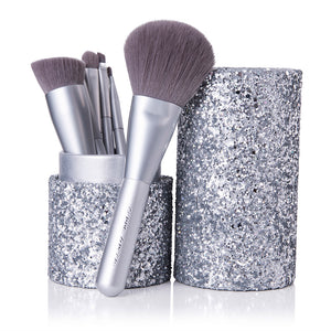 Chende 7PCS Powder Foundation Eyeshadow Makeup Brush Set with Silver Holder