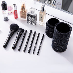 Chende 7PCS Brushes Powder Foundation Eyeshadow Makeup Brush Set with Silver Holder (7 Brushes in a Set)