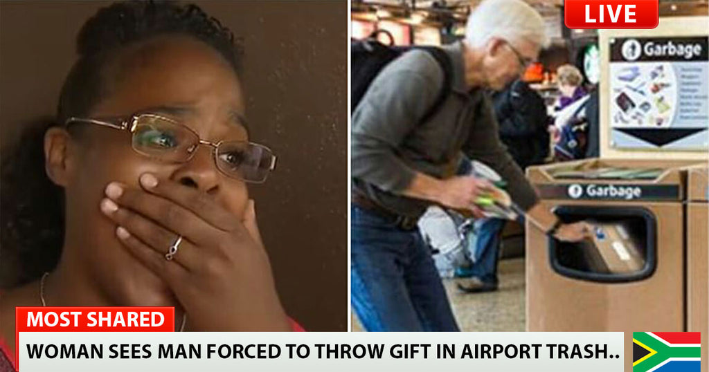 Woman sees crying man forced to throw gift in airport trash – what she digs out breaks her heart