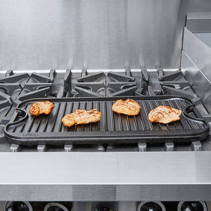 "Lodge LPG13 20"" x 10 1/2"" x 3/4"" Pre-Seasoned Cast Iron Reversible Griddle and Grill Pan"