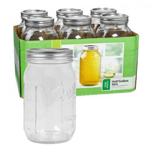 Ball Canning Jars - 6 Pack of Wide Mouth 1/2 Gallon Jars