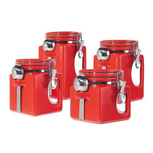 Red E-Z Grip Handles Canister Set