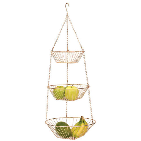 RSVP Copper Wire 3-Tier Hanging Basket