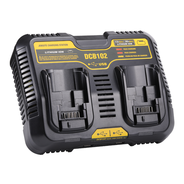 For Dewalt 12V & 20V Max Battery Charger DCB102 | With Dual Port