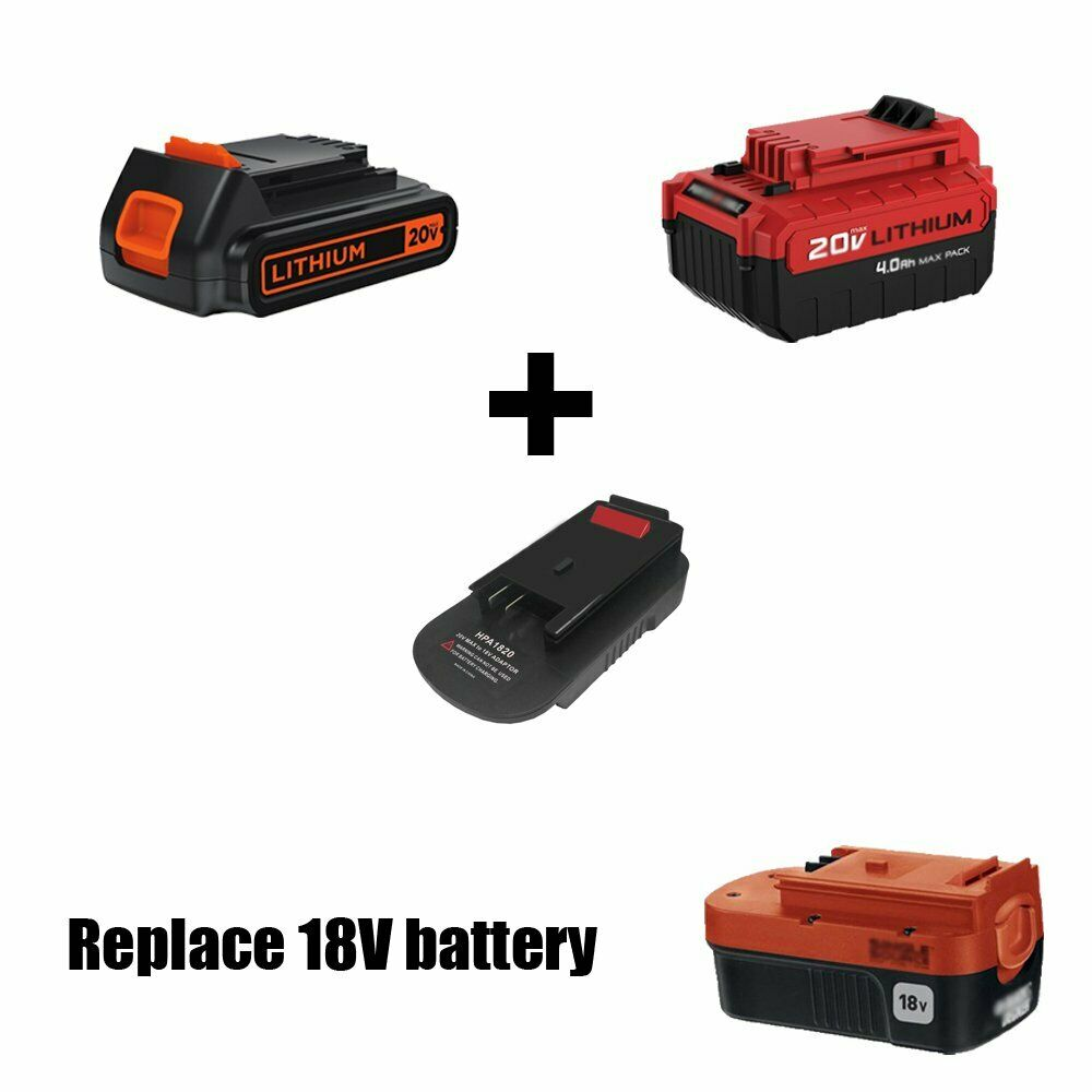 HPA1820 20V-18V Adapter for Black Decker Porter Cable Stanley 20V LI-ION Battery