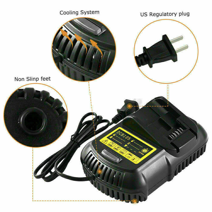 DCB105 Lithium Charger Replacement for Dewalt 12V/20V Max Battery DCB105 DCB112 DCB115 DCB101 DCB205 DCB203 DCB204 DCB206 DCB201 DCB120 DCB127