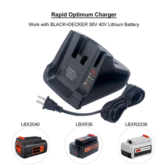 40V MAX Battery Fast Charger LCS40 Compatible with Black & Decker 36V 40V Max Lithium Battery LBXR36 LBX2040 LBXR2036 LBX1540 LBX36 LBX2540 LSW36 LST136 LHT2436