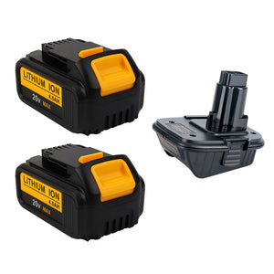 For Dewalt 20V 4.0Ah Battery Replacement 2-PACK With Vanon 18v to 20v Adaptor | Special Combo
