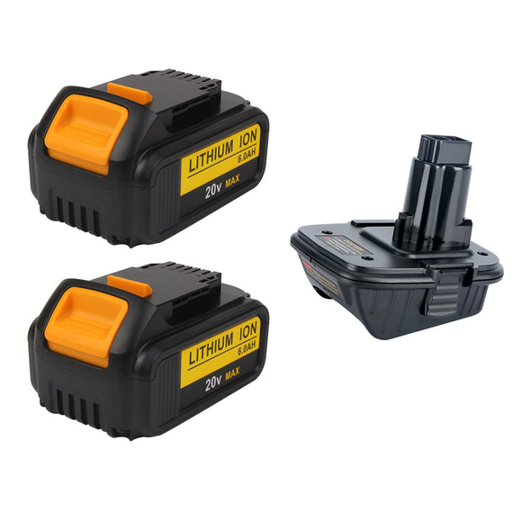 For Dewalt 20V 6.0Ah Battery Replacement 2-PACK With 18v to 20v Adaptor | Special Combo
