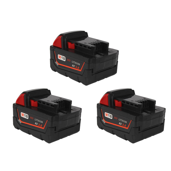 For Milwaukee 18V M18 3.0Ah Battery Replacement | Li-Ion Battery 3 Pack
