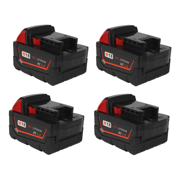 For Milwaukee 18V M18 3.0Ah Battery Replacement | Li-Ion Battery 4 Pack