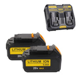 For Dewalt 20V DCB200 6.0Ah Max Battery Replacement & Charger DCB102 | With Dual Port