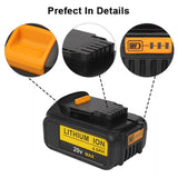 6 Pack 4.0Ah For Dewalt 20V Battery Replacement | DCB204-2 Li-ion