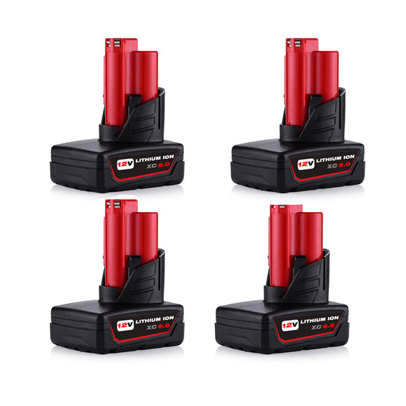 For Milwaukee 12V Battery Replacement | M12 6.0Ah Li-ion 4 Pack | Vanonbatteries