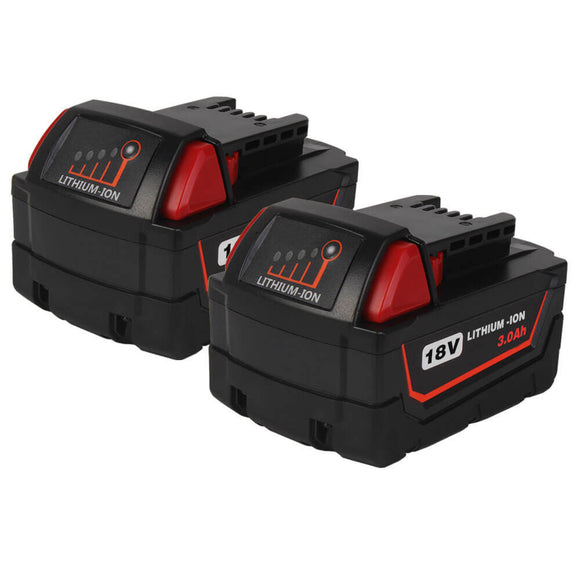 For Milwaukee 18V Battery 3Ah Replacement | M18 Batteries 2 Pack