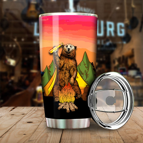 Camping Bear I Hate People Tumbler