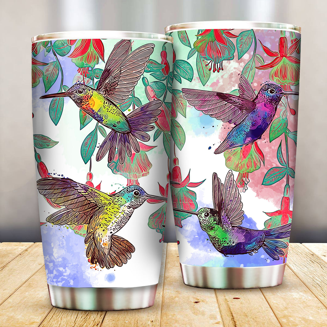 HUMMINGBIRDS COLOR ART TUMBLER