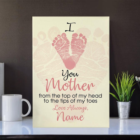 "Personalized Mother's Day Portrait Canvas Custom I Love You Mother  Portrait Canvas 32"" x 48"" Pink"