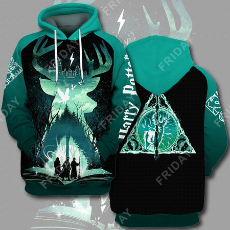 HP Patronus Deathly Hallows All Over Print Hoodie T-shirt