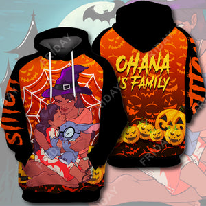 LAS Ohana Is Family Halloween All Over Print Hoodie T-shirt