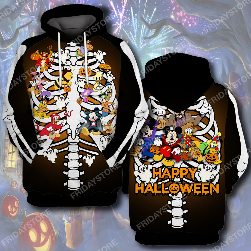 DN Happy Halloween Party Bone All Over Print Hoodie T-shirt