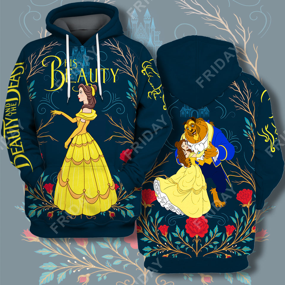 DN Beauty & The Beast His Beauty Couple 3D Print Hoodie T-shirt