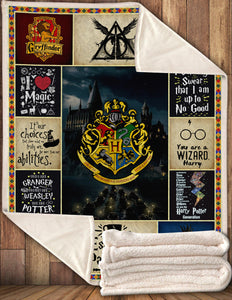 HP 4 House And Quotes Blanket