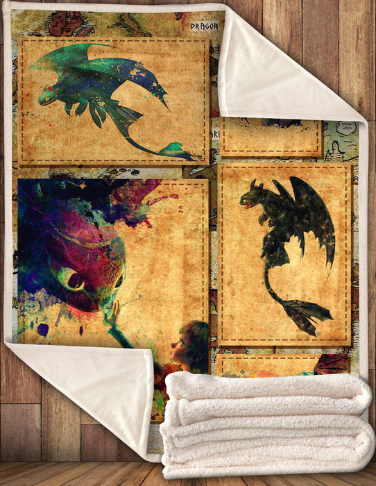 HTTYD Vintage Dragon Map Blanket